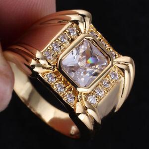 Rectangular Sim. Gem Men Yellow Gold Finish Ring Size Selectable