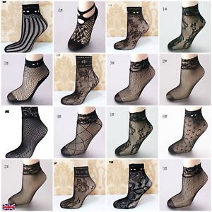 Women's Fishnet Socks High Quality Elastic Lace Net Mesh Ankle Black