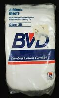 VINTAGE Pack of 3 BVD UNDERWEAR size 38 from 1985 MADE IN USA