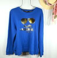 NEW Karl Lagerfeld Paris Women's Blue Gold Sunglass Sweatshirt Top XL