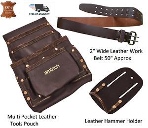 "4 Pockets Tool Pouch Genuine Oil Tan Leather, Belt 28""-50""w, Hammer Holder & SET"