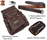"4 Pockets Tool Pouch Genuine Oil Tan Leather, Belt 28""-50""w, Hammer Holder & SET"
