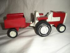VINTAGE TONKA RED AND WHITE LAWN TRACTOR WITH ATTACHED TRAILER/WAGON  #811002