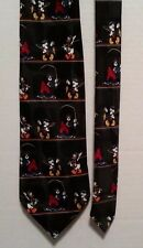 Disney Mickey Mouse Goofy Donald Duck Fly Fishing Mens Classic Black Necktie