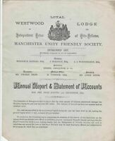 Westwood Lodge Manchester 1870 Annual Report & Statement of Accounts  Ref 34228