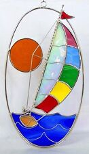 Stain Glass Sailboat on a Oval Wire Ring