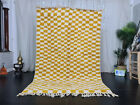 "Beni Ourain Moroccan Handmade Rug 5'3""x8'3"" Checkered Berber White Yellow Rug"