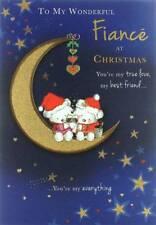 "Goldmark Fiance Christmas Card - Santa Bears, Champagne & Gold Moon 9"" x 6.25"""