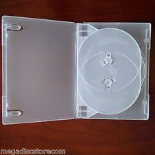 2 Pack Frosty Standard Size Triple 3 DVD Case Box 14mm Three Discs Holder W Flap