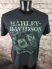 Harley Davidson Mens Large T-Shirt - Military Dog Tags Distressed Wind Faded