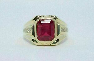 3Ct Emerald Cut Red Garnet Solitaire Men's Engagement Ring 18K Yellow Gold Over