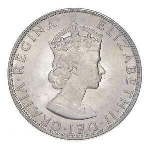 Choice BU Unc 1964 Bermuda 1 Crown Silver Coin - Mint State *764
