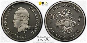 1967 French Polynesia 20 Francs PCGS SP68 Nickel Piefort