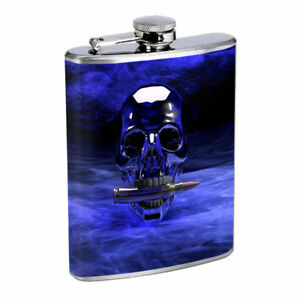Blue Skull Bullet Em1 Flask 8oz Stainless Steel Hip Drinking Whiskey