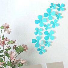 24 Pièces Lot 3D Stickers Fleur Trèfle à 4 Bleu Ciel Pvc Design Pétales Décorati