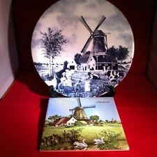 Dutch Delft Blue Porcelain Round Plate & Tile