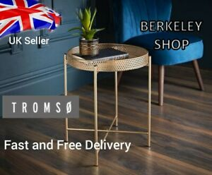 Tromso Gold Tray Metal  Coffee Table With Removable Tray Top Max Loading: 10kg