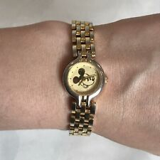 More details for disney vintage mickey mouse watch gold tone swiss movt thai assembly hong kong