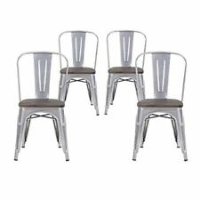 Set of Four Gray Wooden Seat  Metal Indoor/Outdoor Stackable Chairs with Back