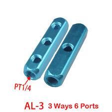 1Pcs 1/4PT Thread 3 Ways 6 Ports Air Pneumatic Aluminum Manifold Block Splitter