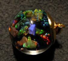 Floating Opals pendant Andamooka honey Opal Gold Vermeil Rolo chain