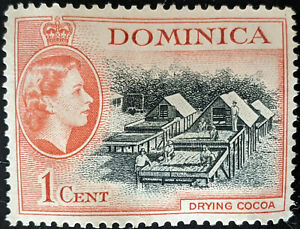 Stamp Dominica SG141 1954 1c Drying Cocoa Mint No Gum