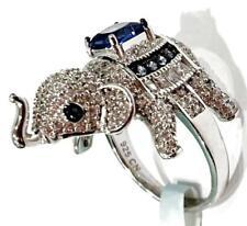 Cote D'argent  Elephant Ring 925 Sterling Silver Cz Blue Sapphire Size 7