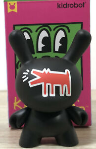 """Kidrobot Keith Haring 3"""" Dunny Mini Series Black Red Barking Dog New Open Blind"""
