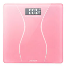 Pink Digital Personal Scale Electronic LCD Glass 6mm Thick Bathroom Body Weight