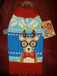 "Petco""Holiday Tail""Oh Deer""XS Sweater Dog Red Blue Turquoise Christmas Reindeer"