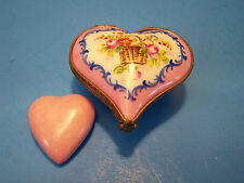 HEART PK. ,BASKET WITH HEART, authentic FRENCH LIMOGES BOX ( NEW )