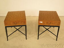 F39426E: Pair KITTINGER Incised Top 1 Drawer End Tables