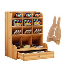 Organizador de escritorio de oficina soporte para bolígrafo de madera DIY
