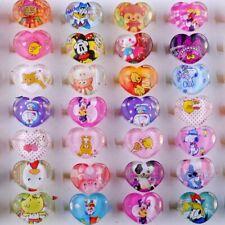 30/50/100Pcs Wholesale Lots Mixed Unisex Kids Cartoon Rings Resin Heart Shaped