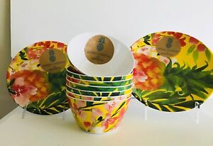 Outdoor Collection Yellow Pineapple MELAMINE Plates & Bowls Set Of 4 Tropical NW