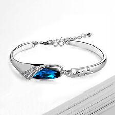 Women Crystal Silver Plated Bangle Chain Bracelet Girls Fashion Jewelry Wedding