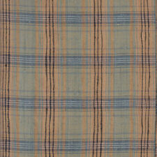 Tussah Silk gold/green/blue plaid fabric for clothing/decor 10 yards