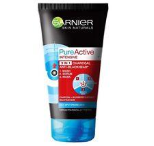 Garnier Pure Active 3in1 Face Scrub Wash Mask Charcoal Anti Blackhead 150 ml