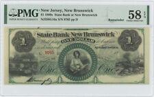 1860s $1  New Brunswick New Jersey Obsolete PMG 58 CH AU EPQ
