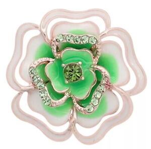 Rose Gold White Enamel Green Rhinestone Flower 20mm Snap Charm For Ginger Snaps