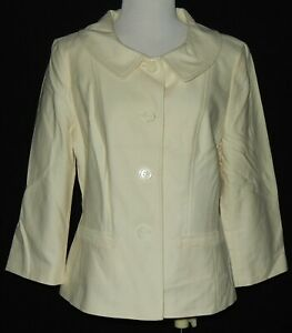 Ann Taylor Womens Ivory Blazer Jacket Size 12 Hip Pockets Lined Collared Sharp #