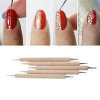 5Pcs/set Nail Art Dotting DIY 2-Way Wooden Dot Pen Marbleizing Manicure Tools U