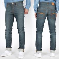 Nudie Herren Slim Skinny Fit Stretch Röhren Jeans Hose - Thin Finn Clean Steel