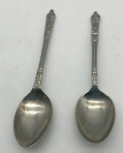 """Pair 2 Apostle Teaspoon Stainless Steel Spoons 4.5"""" Long Nickel Silver"""