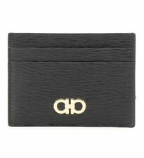 Salvatore Ferragamo Black Revival Leather Card Case & Money Clip Holder BNWB