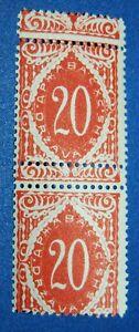 Slovenia - 1919, Red 2 stamps MNH, Error Large Misperf on Vertical (20v)