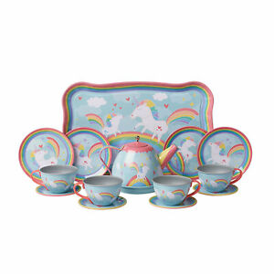 Unicorn Tea Set - Child Size Play Teacups, Saucers, and Serving Tray