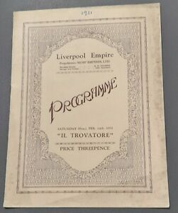 Covent Garden Opera Company Programme Feb 1931 Liverpool Empire IL Travatore