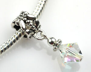 Crystal Dangle Charm Bead made with Swarovski Elements European Style PICK COLOR