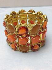 Antique Style Gold Stretch Bracelet w/ Orange Crystal Stones Fashion Jewelry NEW